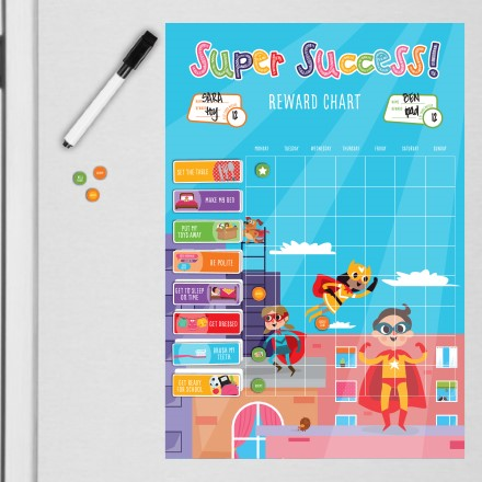 """Catch children in the act of behaving well and reward them with a magnet on their hanging chore chart, then watch those good habits multiply! Customizable with included dry erase marker, 2 sticker sheets and 10 magnets. Approx. 13"""" W x 19"""" H."""